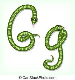 Snake font. Letter G - Font made from green snake. Letter G