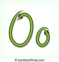 Snake font. Letter O - Font made from green snake. Letter O