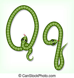 Snake font. Letter Q