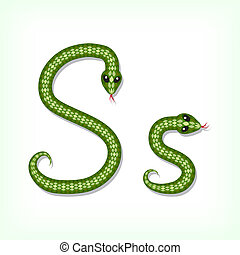 Snake font. Letter S - Font made from green snake. Letter S