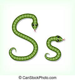 Snake font. Letter S - Font made from green snake. Letter S