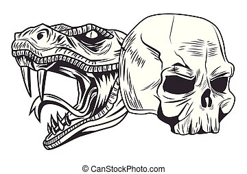 snake head and skull drawn tattoo icon