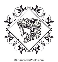 snake head drawn tattoo icon