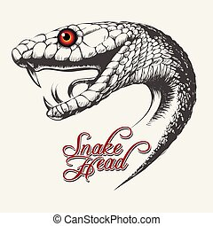 Handdrawn Snake head in tattoo style. Vector illustration.