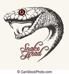 Snake Head Illustration - Handdrawn Snake head in tattoo ...