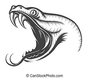 Snake Head - The head of Snake. Engraving style. Isolated on...