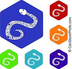 Snake icons set hexagon