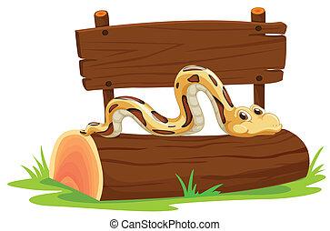 Snake - Illustration of a snake on a log