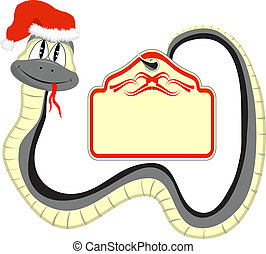 Snake in a Santa Claus hat with a paper in the tail