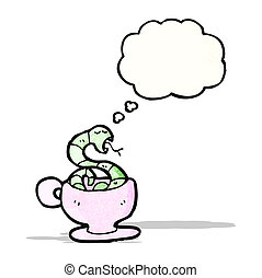 snake in coffee cup cartoon