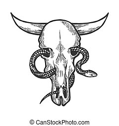 Snake in cow skull sketch engraving vector illustration. Scratch board style imitation. Black and white hand drawn image.