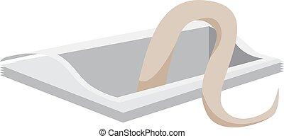 Snake in hole, illustration, vector on white background.