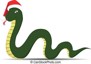 snake in santa claus hat