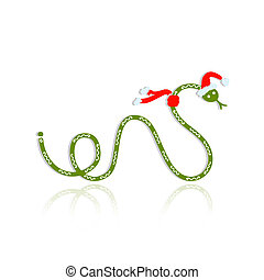 Snake in santa hat, symbol of chinese new year 2013