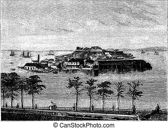 Snake Island in the Bay of Rio Janeiro. - Drawing Tirpenne, vintage engraving.