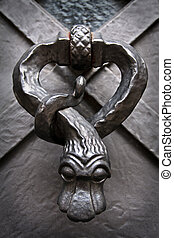 Snake knocker on the door in Prague Castle