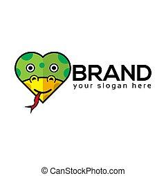 Snake Love Logo, flat design. Vector Illustration on white background