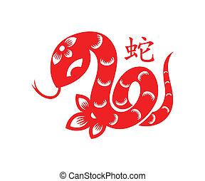 Snake Lunar symbol - Papercut of 2013 Snake Lunar year ...