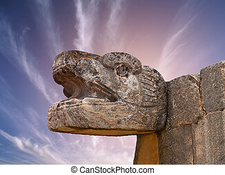 Snake Mayan Sculpture in the city of Chichen Itza, Yucatan,...