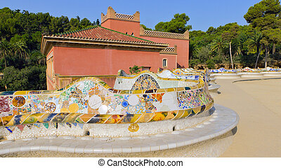 snake mosaic bench in the park Guell