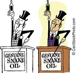 Snake Oil Salesman - A wily salesman sells a fake remedy