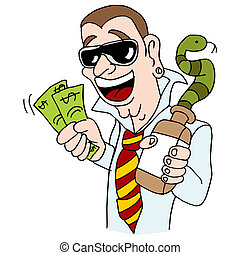 Snake Oil Salesman - An image of a snake oil salesman con...