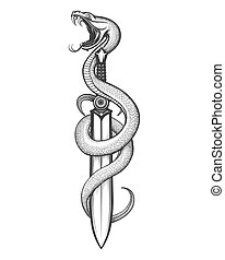 Snake on a Sword - Snake and Sword drawn in tattoo style....