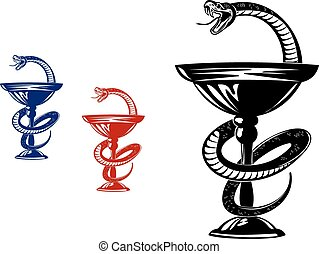 Snake on cup - Medical symbol - snake on cup. Vector ...