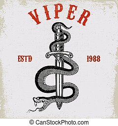Snake on knife in tattoo style. Design element for t shirt, poster, card, emblem, sign.