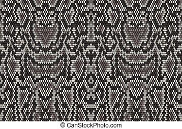 Snake python skin texture. Seamless pattern black on white background. grey