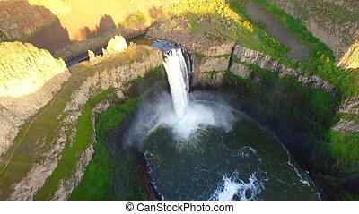 Snake River Flows Over Palouse Falls Eastern Washington Uniteds States