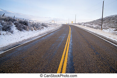 Snake River Valley Road Ranch Snow Falls Rural Farm Landscape