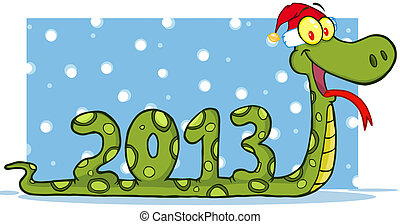 Snake Cartoon Character Showing Numbers 2013 With Santa Hat