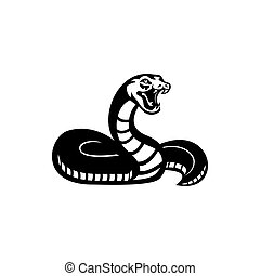 Snake silhouette illustration. Black serpent isolated on a white background. Vector tattoo design.