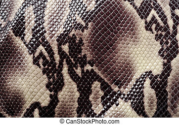 Textured background of genuine leather in snake skin pattern