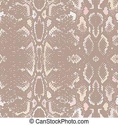 Snake skin texture. Seamless pattern beige brown background. Vector