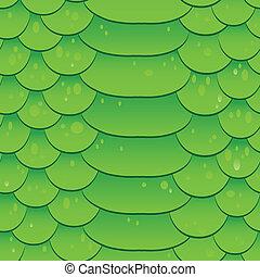 Snake skin texture. Seamless pattern green background. Vector