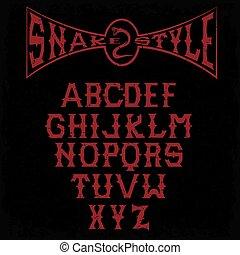 snake style gothic grunge alphabet