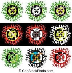 snake symbol design stamps