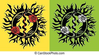 snake symbol flower roses fire