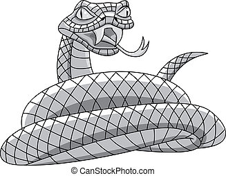 Snake tattoo - Vector illustration of angry snake cartoon