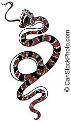 snake tattoo - snake with open mouth , isolated tattoo image