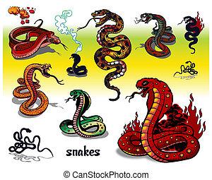 snake tattoos isolated on light background