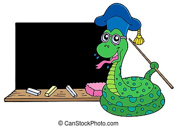 Snake teacher with blackboard - isolated illustration.