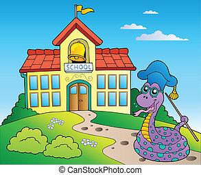 Snake teacher with school building - vector illustration.