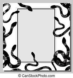 Snake. The background is white with black snakes. Frame. Exotic reptiles. Vector illustration.
