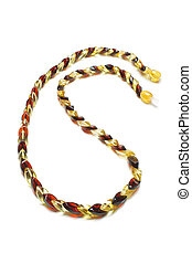 Snake type amber necklace isolated