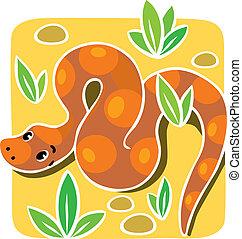 snake., vecteur, enfants, illustration