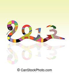 snake vector sign for 2013 year illustration