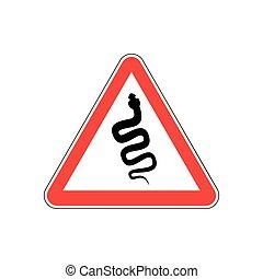 Snake Warning sign red. Venomous serpent Hazard attention ...
